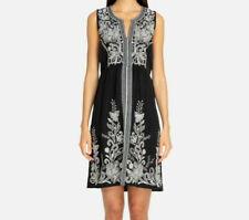 NEW Johnny Was Jewel Embroidered Linen Tank Dress Black Boho Medium