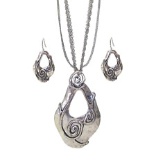 Hammered Teardrop Pendant Necklace and Earrings Silver NEW