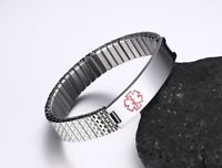 Stretch Spring Women Medical Alert Wristband ID Bracelet Personalized Engraving