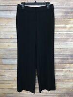 White House Black Market Womens Size 6 Wide Leg Dress Pants Stretch Solid Black