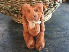 "Antique vintage tiny miniature 3"" mohair jointed brown teddy bear glass eyes"