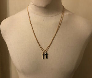 DSQUARED² DOUBLE CURB BALL & GOLD BRASS BROWN WOOD CROSSES JESUS NECKLACE RARE