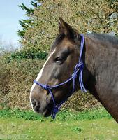 Western Horse BLUE Knotted Rope Head Collar Halter Natural Horsemanship Parelli