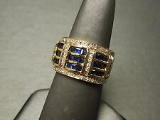 Vintage Estate C1980 14K Gold 2.50TCW Kashmir Sapphire & Pave Diamond Link Band
