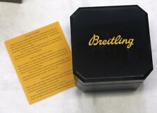 BREITLING WATCH BOX BLACK BAKELITE IN BLACK/YELLOW OUTER CARDBOARD BOX, MINT