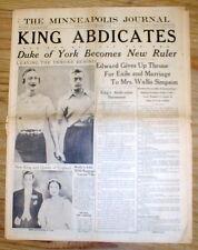 1936 display newspaper Edward VIII ABDICATES BRITISH THRONE to MARRY DIVORCEE