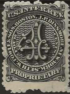 RS 91d--SETH W FOWLE 4 CENT  MATCH AND MEDICINE STAMP--75