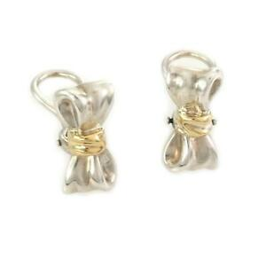 Tiffany & Co. Sterling Silver 18k Yellow Gold Bow Clip On Earrings