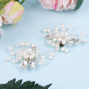 1 Pair rhinestone pearl shoe clips wedding party shoes charm decoration_YJn$