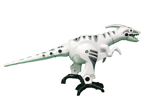 Giant Battery Operated Dinosaur Roar Sound Light & Walking Tail Move XMAS White