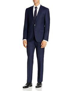 Hugo Boss Genius Tonal Windowpane Navy Slim Fit Suit 46R 39w Loro Piana $895