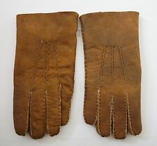 RALPH LAUREN PURPLE LABEL *RANCHER'S* Brown SHEARLING Suede Leather Gloves 8.5
