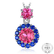 Created Red Ruby Blue Spinel Sterling Silver Pendant Necklace Gifts for Her