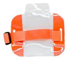 25 Pcs Reflective Orange Arm Band Photo Id Badge Holder Vertical With Elastic Band