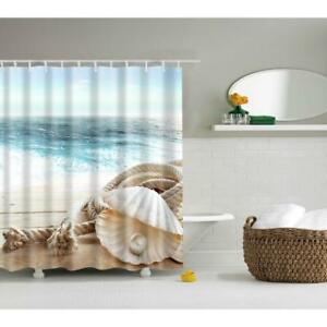 Shower Curtain Sheer Fabric Bath Panel Bathroom Nature Seaside Pearl Mussel