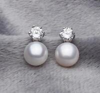 1Pair Pretty Natural 8-9mm Akoya Cultured Pearl Silver Stud Earrings Fashion