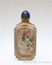 "3.16"" Old Handmade Painted ""Cat"" Inside Painted Enamel Glass Snuff Bottle"