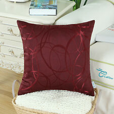 "CaliTime Throw Pillow Covers for Couch Sofa Decor Waves Lines Geometric 18x18"" Burgundy 2pcs Covers/shells"