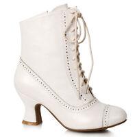 Ellie 253-SARAH White 2.5 inch Heel Victorian Bootie