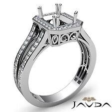 Emerald Semi Mount 18k White Gold Diamond Engagement Halo Filigree Ring 0.92Ct