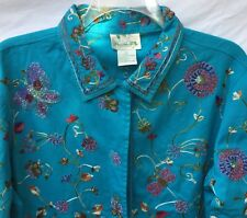 THE QUACKER FACTORY TURQUOISE BUTTERFLY BEADED LS EMBROIDERED JACKET SZ L