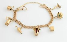 Vintage 14K YG Double Link Charm Bracelet 7 Custom w Rare Estate Gold Charms