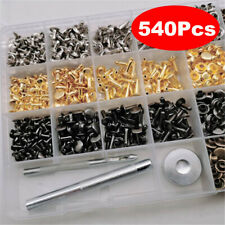 □540 3 Sets Leather Craft Double Cap Rivets Tubular Metal Studs Fixing Tools Kit