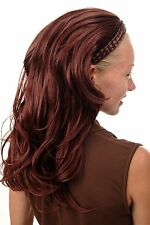 Halbperücke geflochtener Haarreif lang wellig strähnig wetlook braun 90607-35