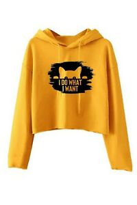 I Do what i want Funny Ladies Cat Lover Crop Tops Hoodie Rude Sarcastic Gift