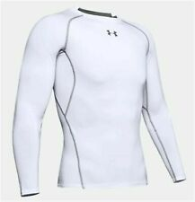 Under Armour Mens HeatGear Long Sleeve Compression Shirt White 100 Large
