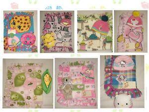 Girls 2-sided Handmade Lark Knot Tye Fleece Blanket/Beanie Set,
