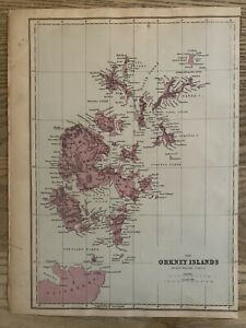 1884 Orkney Islands, Scotland Antique Hand Coloured Map by Edward Weller