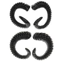 4Pcs Realistic Black Sheep Horns Costume Accessory for Kids DIY Headband