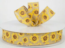 """1.5"""" wired sunflower ribbon open weave faux burlap fall rustic summer 5 yards"""