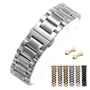 12-24mm Stainless Steel Curved End Solid Watch Band Metal Watch Strap Bracelet
