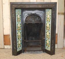 RECLAIMED CAST IRON TILED FIRE INSERT WITH REPRODUCTION ART NOUVEAU TILES r 1072