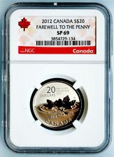 """2012 CANADA NGC SP69 SILVER """"FAREWELL TO THE PENNY"""" S$20!"""