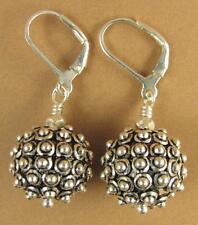Spikey ball large fancy earrings. Lever back hooks. Sterling silver 925.
