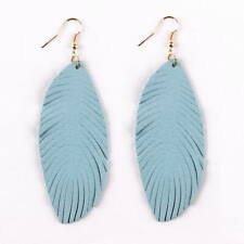 Genuine Leather Leaf Drop Earrings Women Summer Feather Leather Long Earrings