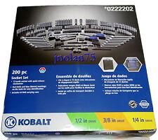 200 Pc KOBALT 1/2 3/8 1/4 Ratchet Socket Mechanics Tool Set SAE & Metric + Case