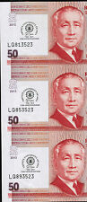 2013 PHILIPPINES 50 peso 50th Year Trinity University of Asia, Uncut, 3-in-1