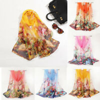 Fashion Women Chiffon Scarf Large Vase Flower Print Long Soft Wrap Shawl Scarves
