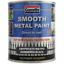 Granville Hammered Smooth Finish Direct To Rust Metal Paint Restore Black 750ml