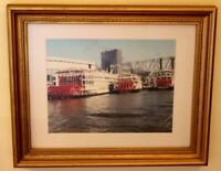 Original Art Photograph of Riverboats on Cincinnati River Signed Custom Framed