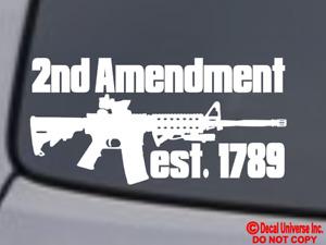 "AR-15 ""2nd Amendment"" Vinyl Decal Sticker Window Bumper 2A Gun Rights Molon Labe"