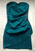 dress teal size 10 12 gem strapless mini bandeau party green turquoise blue NEW