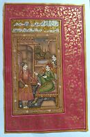 Indian Mughal Emperor Court Seen Painting Handmade Miniature Art with Red Border