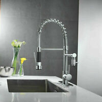 Chrome Single Handle Pull Down Sprayer Kitchen Sink Faucet Swivel Spout W/ Cover