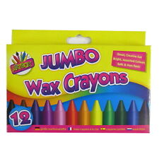 Jumbo Wax Crayons - Box of 12 - Bright, Assorted Colours