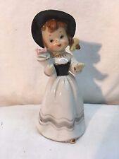 Vtg RARE 1950's Pottery Art Porcelain Adorable Girl w/ bouquet flowers figurine